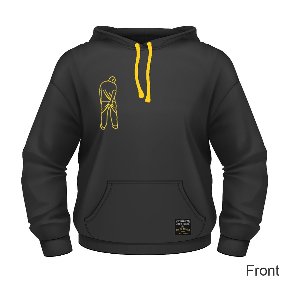 Dirty Rigger pullover hoodie (front view)